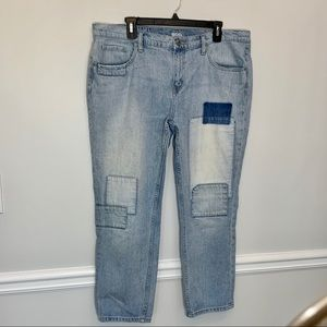 BDG slim boyfriend patchwork light wash jeans